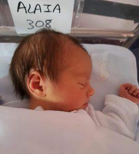 Alaia nació el 11 de febrero de 2017 en el Hospital de Basurto (Bilbao)