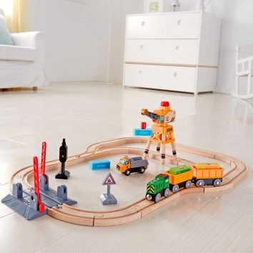 circuito tren pequeño hape crossing crane set