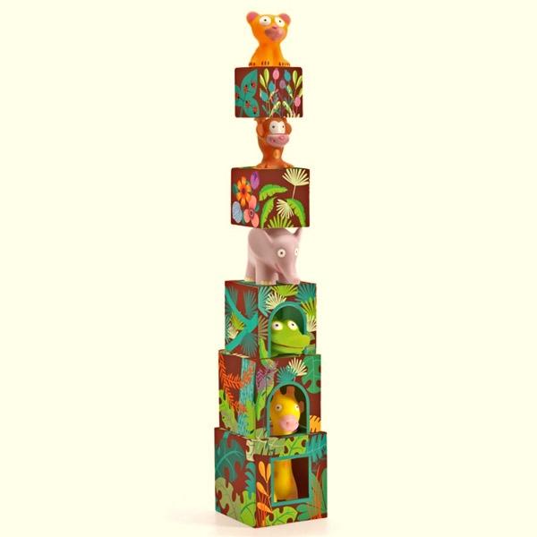 Cubos apilables con animales de la jungla