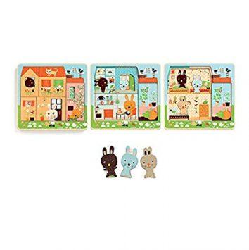 Puzzle 3 niveles Casita de los conejos Djeco