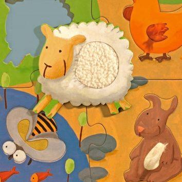 Puzzle Gigante Tactilofarm granja 12 piezas Djeco
