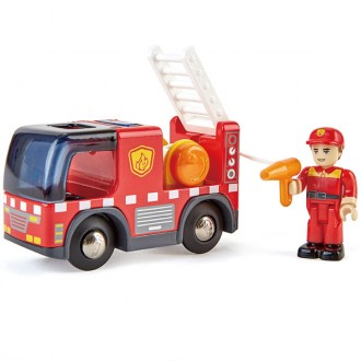Camión de bomberos con sirena de luz y sonido