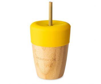 Vaso bamboo amarillo con pajitas de Eco Rascals