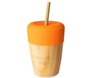 Vaso bamboo naranja con pajitas de Eco Rascals