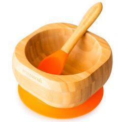 Bol y cuchara bamboo en naranja de Eco Rascals