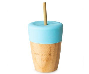 Vaso bamboo con pajita azul Eco Rascals