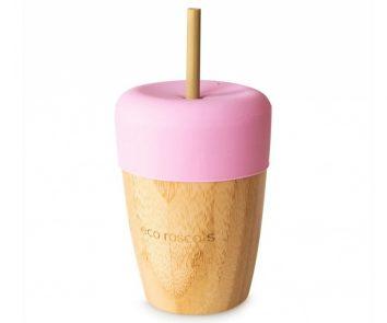 Vaso bamboo rosa con pajita de Eco Rascals