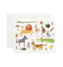 Postal cumpleaños animales de Rifle Paper co