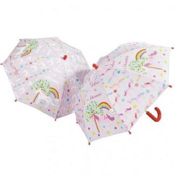 Paraguas cambia de color unicornios de Floss and Rock