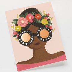 Postal Flower Crown Birthday Girl de Rifle