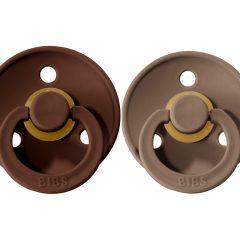 Dos chupetes BIBS Colores Mocha/Darck Oak de 0 a 6 meses