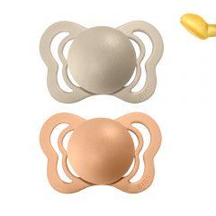 Dos chupetes Bibs Couture Vanilla/Peach 0 a seis meses