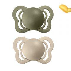 Dos chupetes Bibs Vanilla/Olive de látex de 0 a seis meses