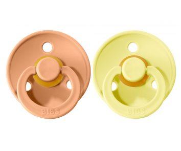 Dos chupetes Bibs Colores Peach Sunset/Sunshine de 0 a 6 meses